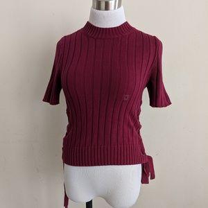 Express Wine Short Sleeve Side Tie Sweater